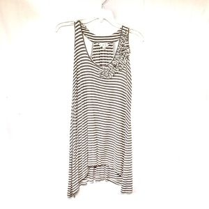 CAbi Gray And White Striped Tank